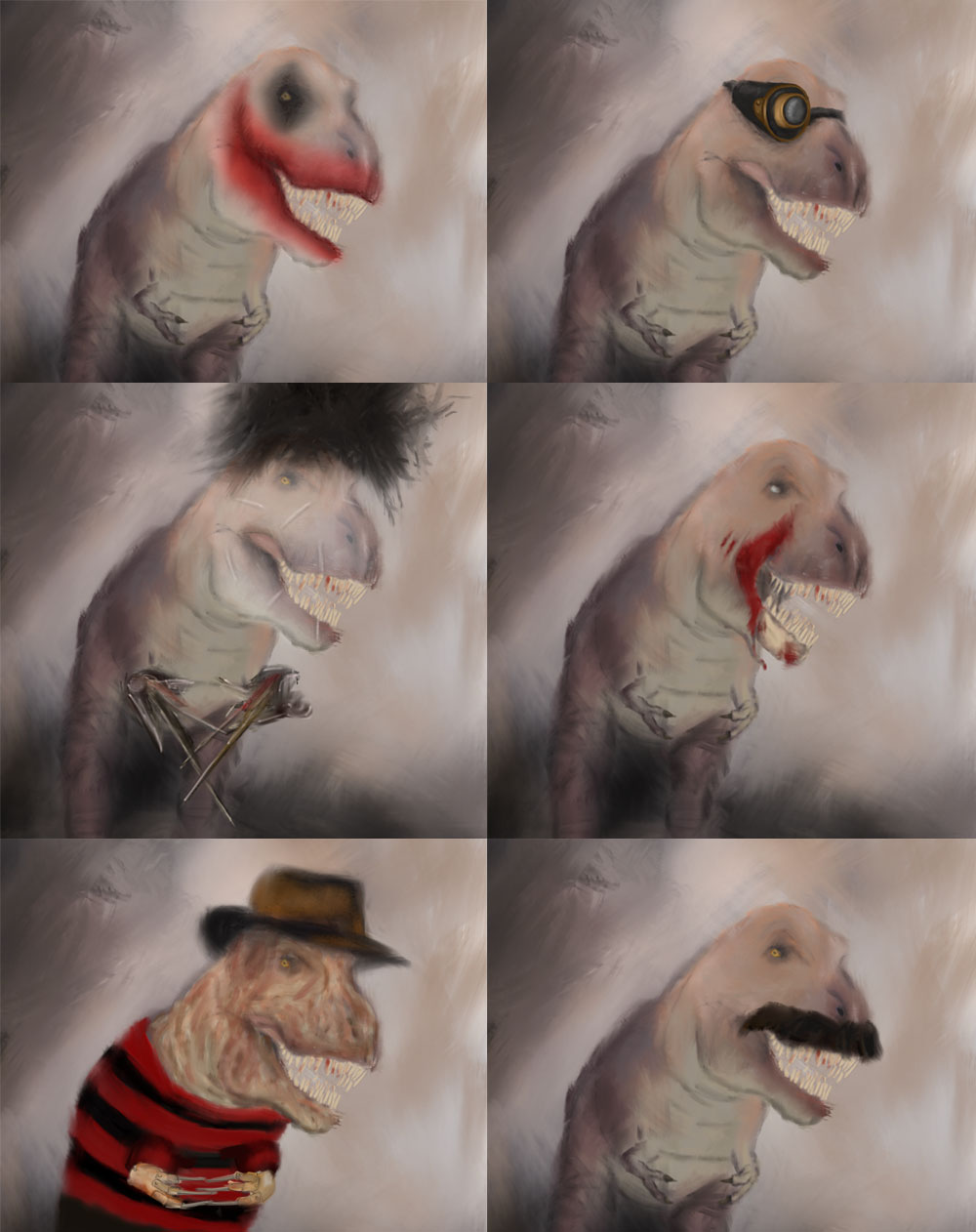 Many faces t-rex