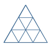 Nine triangles inside an equilateral triangle