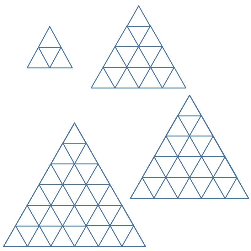 Clockwise from top left: Four pyramids (30×4=120 pieces of paper),  16 pyramids (30×16=480 pieces of paper). 25 pyramids (30×25=750 pieces of paper), 36 pyramids (30×36=1080 pieces of paper)