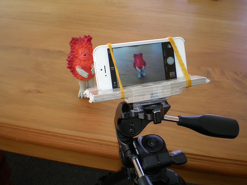 iPhone tripod mount in action